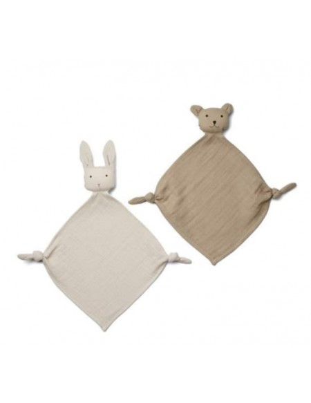 Lange doudou Yoko Mini Cuddle Cloth Lot de 2 - Sandy / beige pierre