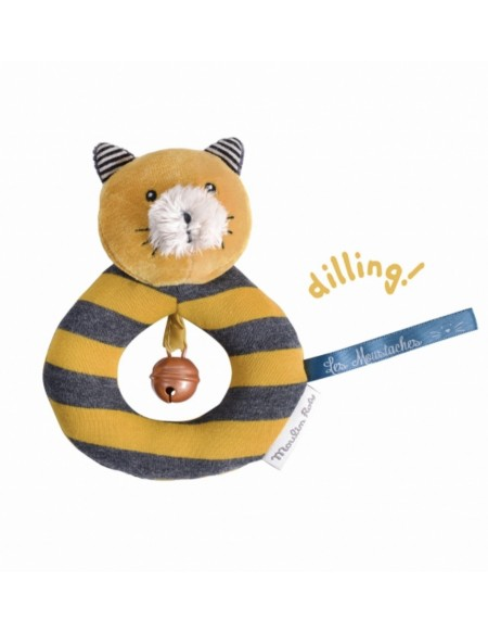Anneau-hochet chat moutarde Lulu Les Moustaches Moulin Roty