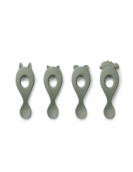 Cuillères Liva Silicone Spoon 4 Pack - Faune green