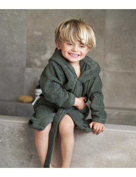 PEIGNOIR LILY BATHROBE PANDA HUNTER GREEN