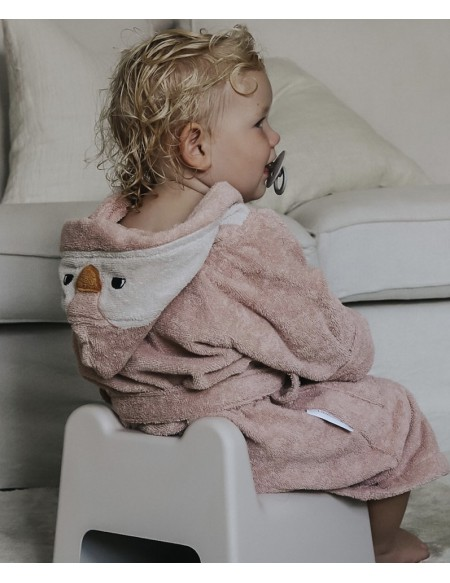 PEIGNOIR LILY BATHROBE PENGUIN ROSE 3/4 ANS