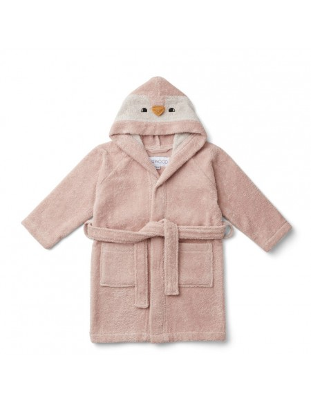 PEIGNOIR LILY BATHROBE PENGUIN ROSE 5/6 ANS
