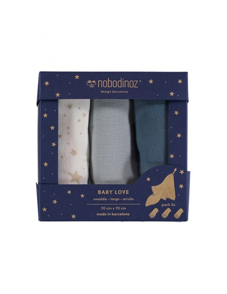 Box de 3 langes baby love bleu