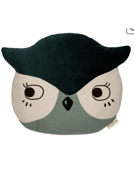 Coussin Chouette Owl Eden green