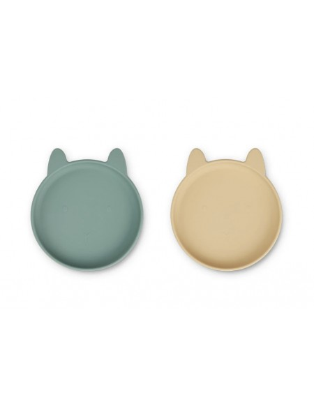 Assiette silicone lapin peppermint / yellow