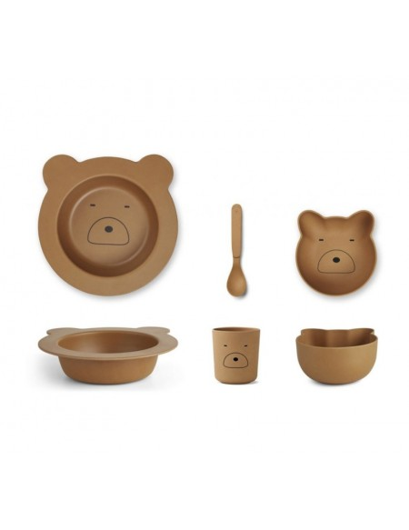 Barbara Bamboo Baby Set - Mr bear moutarde