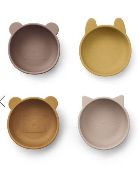 Lot de 4 bols en silicone Iggy - Rose mix
